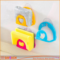 Wholesale Kitchen Eco Friendly Non Folding Sponge Holder Suction Portable Wall Mounted Type Storage Holders Racks dishcloths rack