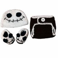 baby skeleton costume - Cool Newborn Jack Skeleton Costume Handmade Crochet Baby Boy Girl Ghost Hat Diaper Cover Booties Set Infant Halloween Costume Photo Props