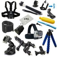 Wholesale High quality Gopro accessories kit Monopod tripod Chest Belt Head Mount Strap Go pro hero4 Black Edition SJCAM SJ4000 Xiaoyi Eken H8 H9