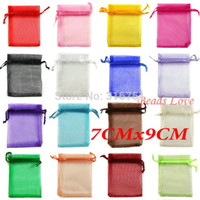 Wholesale 100pcs Mix Jewelry Packing Drawable Organza Bags Wedding Gift cmx9cm AA W03178
