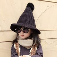 baby wizard - Hug Me Fashion Children Winter Raccoon Fur Hat Girls Boys Fur pompoms Ball Baby Beanies Cap Kids Crochet Knitted Wizard Hats AA