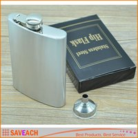 Wholesale 8oz Flask Stainless Steel Leak Proof Liquor Whisky Hip Flask Drinkware Bottle Includes Free Funnel and Black Retail Box