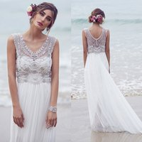 beaded summer dresses - White Wedding Dresses v neck Vintage Ruffles Wedding Dress Beaded Sweep Train Sexy Stretch chiffion Custom Made Wedding Gown Dress