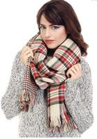 Scarf Fashion Check, Plaid & Tartan Fashion Women's Designer Brand Plaid Double Sided Warm Cashmere Scarf Long Scarves Tassel Shawl Fashion Accessories