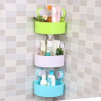 Wholesale 2016 Lovely Bathroom Corner Storage Rack Organizer Shower Wall Shelf with Suction Cup hot search