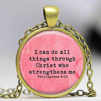 bible scripture necklace - Bible Verse Jewelry Bible Necklace Philippians Bible Verse Inspirational Jewelry Inspirational Necklace Scripture