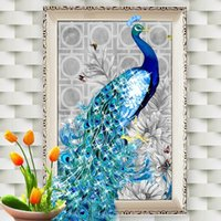 Wholesale 10PCS D Diamond Paintings Rhinestone Pasted DIY Diamond Painting Cross Stitch Animal Peacock Diamond Mosaic Room Decor Home Decoration