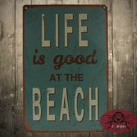 acrylic plaques - Life Is Good At The Beach quot Tin Sign decorative wall plaque gift H