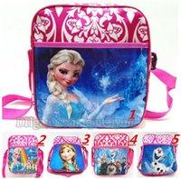 al por mayor chicas bolsa de regalo de cumpleaños-Anna y Elsa dibujo animado Bolsas Bolsas Escuela para las bolsas de cabritos de las muchachas Navidad de los niños del regalo de cumpleaños regalo de la escuela para niños mochilas B275-1