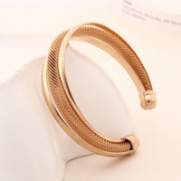 Wholesale New Fashion Jewelry K Rose Gold Plated Twisted Plain Open Bangle Bracelet for Women Hot Gift