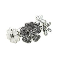 Wholesale 100 Sterling Silver New Spring Shimmering Bouquet Silver Rings Clear CZ Jewelry DIY KP007RR