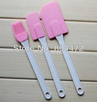 Wholesale Set Silicone Kitchen Utensils Set Plastic Handles Set of Spatula Brush