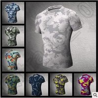 camouflage wholesale - 50pcs CCA4303 High Quality Mens Outdoor Quick Dry Camouflage Tight Shirt Jogging Compression T shirt Running Clothes Camo Gym Workout Tops