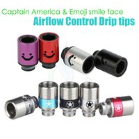 america smile - New Captain America Emoji smile face Airflow Control Drip Tips huge vaporizer wide bore Mouthpiece tip ecigs atomizer RDA tank dripper