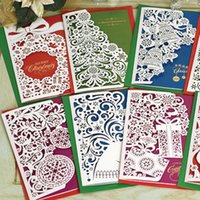 Wholesale Hollow Merry Christmas Greeting Card Wedding Card Vintage Laser Cut Paper Handmade Greeting Cards christmas gifts souvenirs