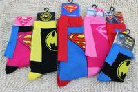 autumn man film - 100pairs Baby Cartoon Hero Socks Superman Men Women Superman Batman Cotton Sock With Capes Harajuku Style Film Cosplay Party Hosiery K7051