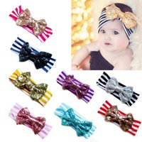 Wholesale 11 Color New Fashion girls Bow stripe headbands baby sequins bowknot headband girls Striped cotton headbands Handmade baby Accessories