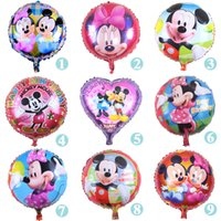 Wholesale 50pcs inch mickey minnie mouse print foil helium ballon baby shower birthday christmas party decoration balloon child kids toy