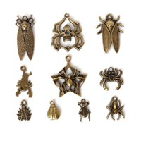 beetle spider - New Mixed Style Zinc Alloy Antique Bronze Plated Beetle Spider Charms Pendants Diy Jewelry Handmade Crafts jewelry