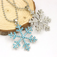 america snow - Christmas Gifts America D Anime Movie The Snow Queen Crystal Snowflake Statement Necklace Best Sale Women Pendant Necklace