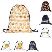Wholesale 2016 New Emoji selling D printing Drawstring housing bag Oxford bags shoulders backpack
