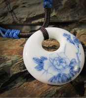 Wholesale THE CHINA STYLE Jingdezhen Ceramic Pendant Necklaces National Style Hand painted gift Blue And White DIY GIFT
