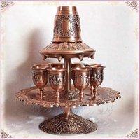 antique decanter set - rare set antique copper zinc alloy metal wine decanter set drinks ware tableware set wine cup drinkware328B