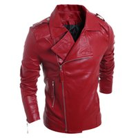 Wholesale Fall Winter Style Multi Zipper Leather Jackets European and American Style Plus Size Red Leather Motorcycle Jacket S1900