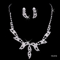 Wholesale Bling Bridal Jewelry Wedding Bridal Rhinestone Accessories Necklace and Earring Ear Stud Style Sets Silver Plated New Without Tags