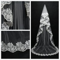 Wholesale Cheap Meters Lace Long Wedding Veils White Ivory Tulle Lace edges Cathedral Length Wedding Bridal Veils