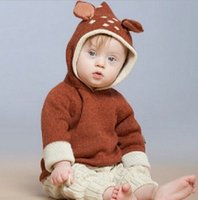 Wholesale Boys Girls Baby Childrens Knitted Sweater Clothing Cartoon Fawn Ears Cotton Hooded Cardigan Kids Clothes Autumn Winter Outwear