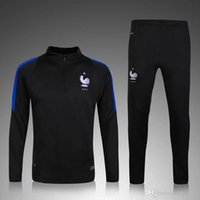 Wholesale 2016 Long sleeve training suit Thailand produced the highest quality The French training suit soccer jersey hot sales