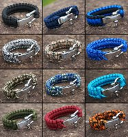 alloy shackle - Outdoor Paracord Survival Bracelet with Stainless Steel Buckle Outdoor Camping Shackle POLICE LIVES MATTER CROSSFIT ME AGAINST MYSELF