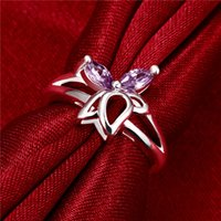 Wholesale Best gift Full Diamond Lotus silver Ring STPR061B brand new purple gemstone sterling silver finger rings