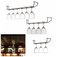 Wholesale Funny Champagne Stemware Holder Chrome Plated Wine Rack Glass Cup Kitchen Wall Bar Hanger Enclosed Stainless Steel Screw
