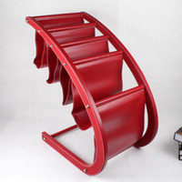 Wholesale large wood leather floor magazine newspaper exhibition display rack shelf organizer holder red C