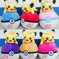 Wholesale Pikachu Poke Ball Plush Toy Stuffed Doll Anime Poke Pocket Monster Cartoon Stuffed Animal Kids Doll cm styles