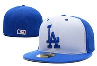 angeles top cap - 2016 High quality Fashion Hip Hop Los Angeles Dodgers Baseball Fitted Caps Blocking Top Blue Brim LA Letter Sports Team Flat Hats
