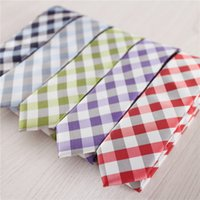 Wholesale gingham ties plaid necktie checkered neck ties sky blue tie for engagement skinny neckties mint green neck tie purple ties red necktie nt s1