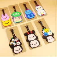 baggage tags lot - MEW HOT SALE Cartoon Micky Minnie tsum tsum pvc luggage tags baggage name tag gifts