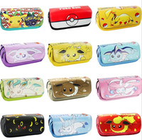 Wholesale 12 design POke Stationery bags Pikachu Pencil Cases poke ball student pencil bag Makeup bag gifts for students