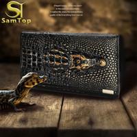Cartera de lujo del grano del cocodrilo de las mujeres de EuropaStyle Carpeta de cuero de los cocodrilos Diseño largo 3D Bolso de embrague de las señoras del patrón bolso de la moneda envío de la gota