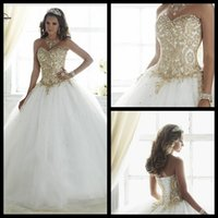 ball gowns discount - Discount Vestidos De Anos White Debutante Ball Gown Lace Dress for Years Cheap Quinceanera Dresses With Gold Appliques