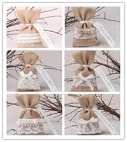 Wholesale New arrival Creative Yellow Faux Burlap Linen Gift Bag Pouch Fabric Wedding Candy Bags