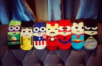 Sock batman superman cartoon - Mens and womens cotton Harajuku Cartoon Tube Socks Hip Hop Superhero superman Batman captain america Iron man Short Sock Happy Ankle Socks