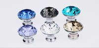 Wholesale hot style mm Furniture handles of cupboard door drawer Crystal handle with circular haplopore