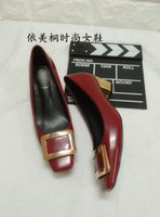 Wholesale classic metal heel metal buckle square toe matte genuine leather women s chunky heels pumps
