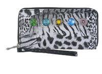 Wholesale hot mm snap button wallet diy jelwery purse noosa chunks button holders interchangeable button clip leapoard women pu leather handbags