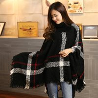 Wholesale 2016 High quality fashion designer winter warm acrylic turtle neck poncho shipp to Canada seven colors available free size