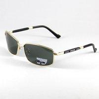 Wholesale New Brand Men Polarized Sunglasses Alloyed Gold Frame Eyewear Eyeglasses Sun Glasses Deep Green Lenses New Fashion Design UV Driving